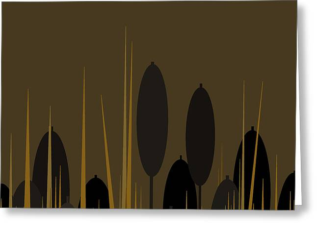 Cattails Greeting Card by Val Arie