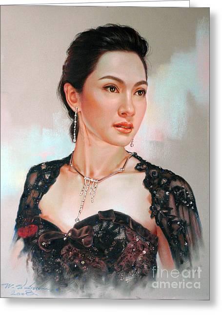 Thai Pastels Greeting Cards - Catthaleeya Greeting Card by Chonkhet Phanwichien