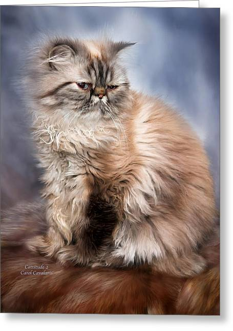 Cat Prints Greeting Cards - Cattitude 2 Greeting Card by Carol Cavalaris
