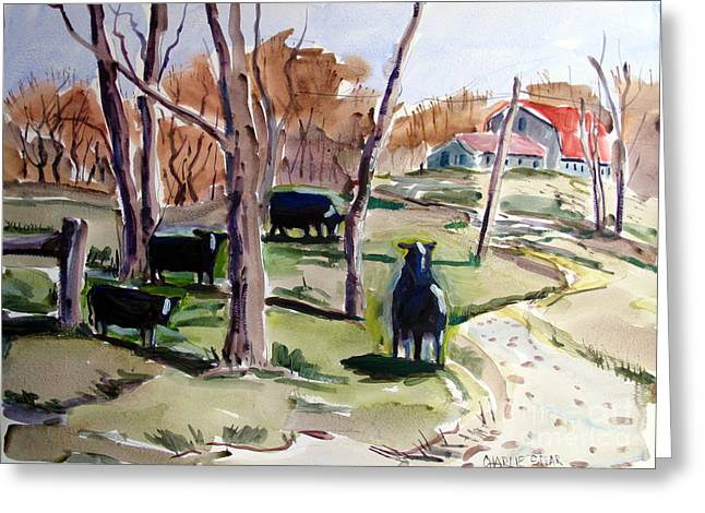 Indiana Landscapes Paintings Greeting Cards - Cattle Call Greeting Card by Charlie Spear