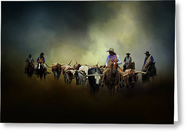 Steer Greeting Cards - Cattle Drive at Dawn Greeting Card by David and Carol Kelly