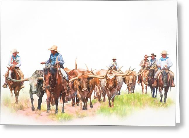 Cattle Drives Greeting Cards - Cattle Drive Greeting Card by David and Carol Kelly