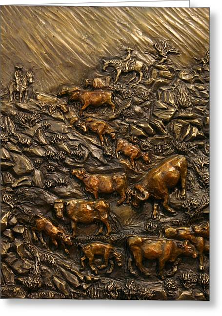 Western Reliefs Greeting Cards - Cattle Drive Greeting Card by Dawn Senior-Trask