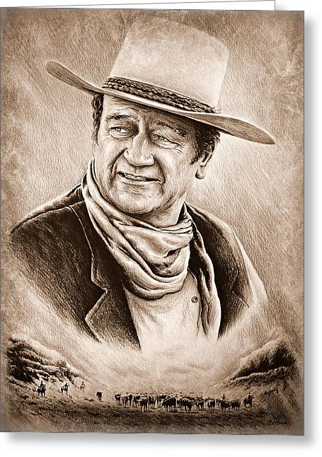 Cattle Drive Sepia Frost Greeting Card by Andrew Read