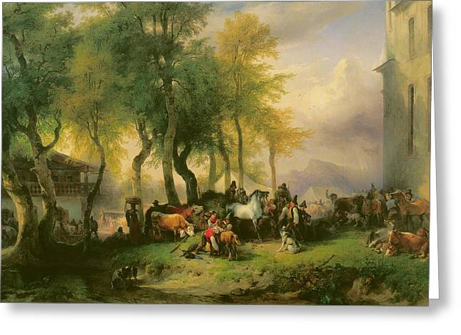 Swiss Paintings Greeting Cards - Cattle market on Maria Plain Greeting Card by Friedrich Gauermann