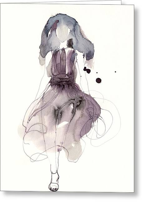 White Background Drawings Greeting Cards - Catwalk Greeting Card by Toril Baekmark