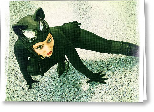 Catwoman Greeting Card by Nina Prommer