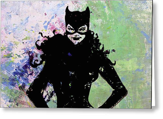 Jackie Kennedy Onassis Greeting Cards - Catwoman Greeting Card by Santiago Picatoste