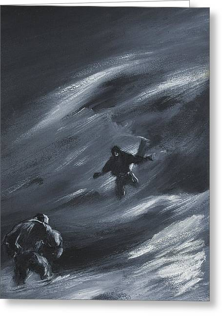 Winter Night Drawings Greeting Cards - Caught in a Blizzard Greeting Card by Edward Adrian Wilson
