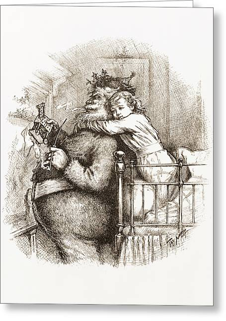 Two Girls Hugging Greeting Cards - Caught Greeting Card by Thomas Nast