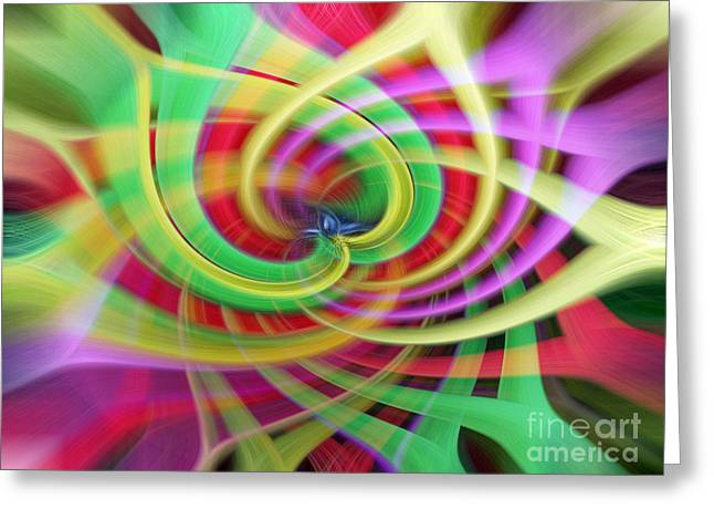 Red Abstracts Greeting Cards - Caught Up in a Colorful Swirl Greeting Card by Sue Melvin