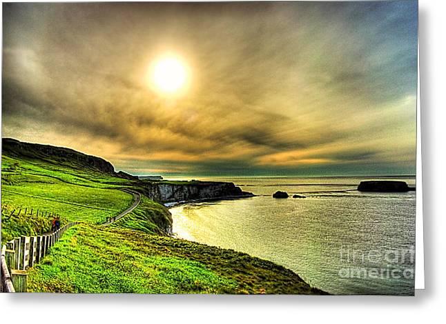 Sunset Seascape Mixed Media Greeting Cards - Causeway Sunset Walk Greeting Card by Kim Shatwell-Irishphotographer