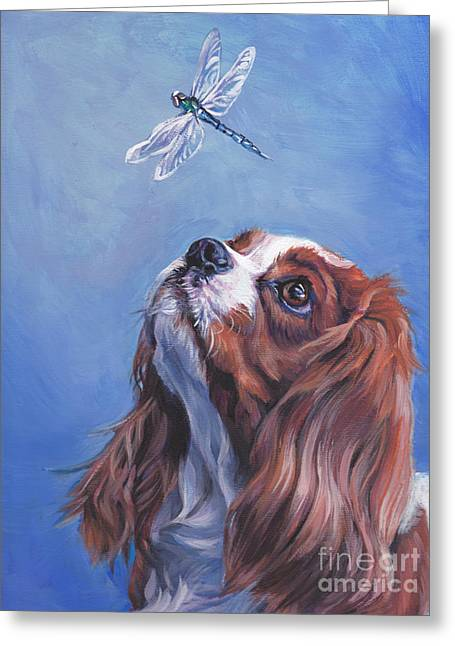 Spaniel Greeting Cards - Cavalier Curiosity Greeting Card by Lee Ann Shepard