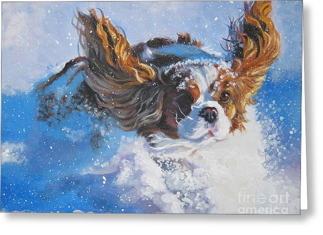 Dogs Paintings Greeting Cards - Cavalier King Charles Spaniel blenheim in snow Greeting Card by L A Shepard