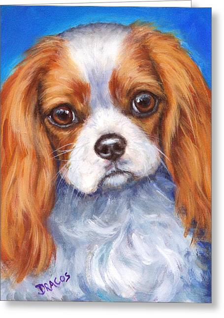 Spaniel Greeting Cards - Cavalier King Charles Spaniel Blenheim on Blue Greeting Card by Dottie Dracos