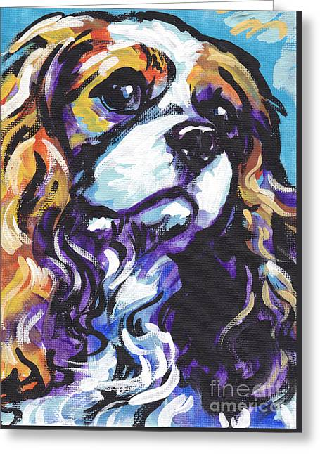 Bright Dog Art Greeting Cards - Cavalier King Charles Spaniel Greeting Card by Lea