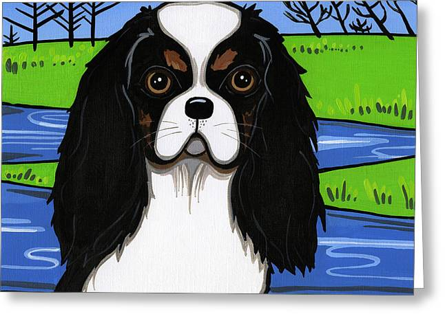 Spaniel Mixed Media Greeting Cards - Cavalier King Charles Spaniel Greeting Card by Leanne Wilkes