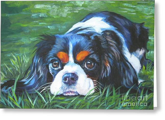 Original Greeting Cards - Cavalier King Charles Spaniel tricolor Greeting Card by Lee Ann Shepard
