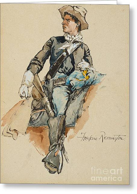 Cavalryman Made In Arizona Greeting Card by Frederic Remington