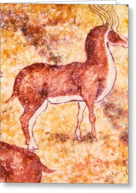 Caves Ceramics Greeting Cards - Cave Art Greeting Card by Dy Witt