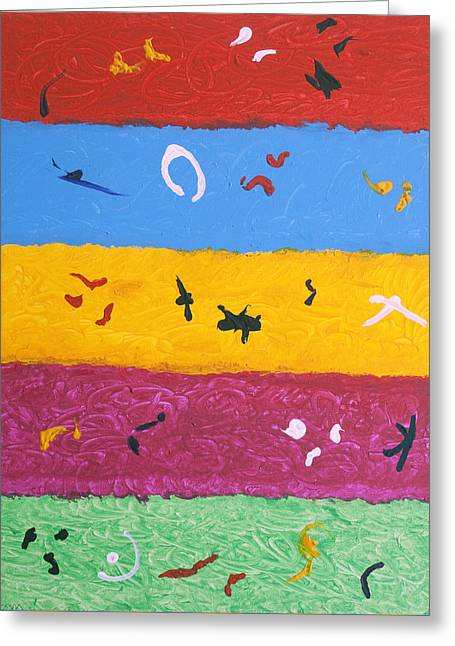 Five Level Greeting Cards - Rock Art Greeting Card by Stormm Bradshaw