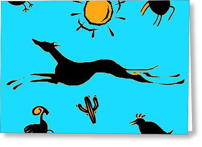 Greyhound Dog Greeting Cards - Cave Dog 2 Greeting Card by Jennifer Howard