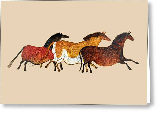 Stone Age Art Greeting Cards - Cave Horses in Beige Greeting Card by Hailey E Herrera