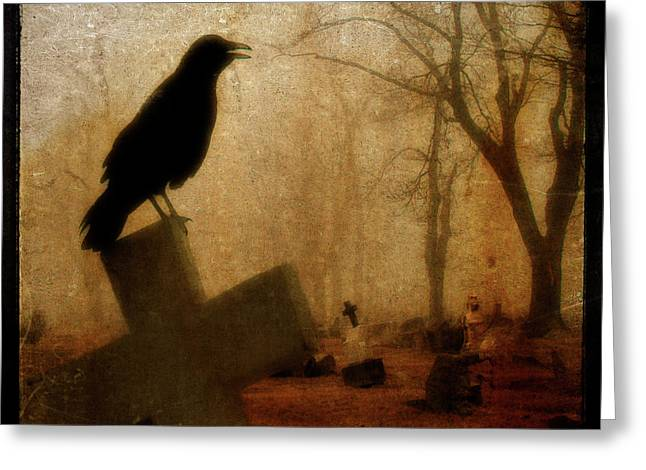 Gothicrow Greeting Cards - Cawing Night Crow Greeting Card by Gothicolors Donna Snyder