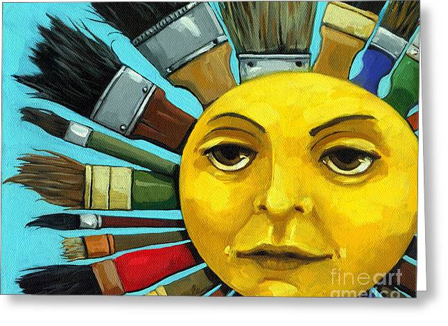 Print Greeting Cards - CBS Sunday Morning Sun Art Greeting Card by Linda Apple