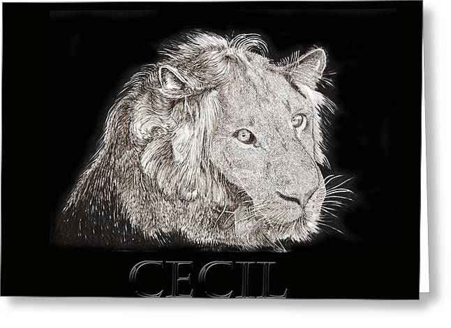 Pen And Ink Drawing Greeting Cards - Cecil African Lion R I P  Greeting Card by Jack Pumphrey