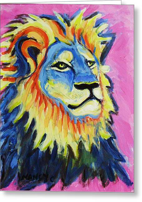 Lions Greeting Cards - Cecil the Lion  Greeting Card by Nancy  Connolly