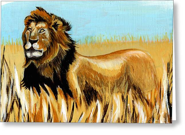 Zimbabwe Paintings Greeting Cards - Cecil The Lion Greeting Card by Genevieve Esson