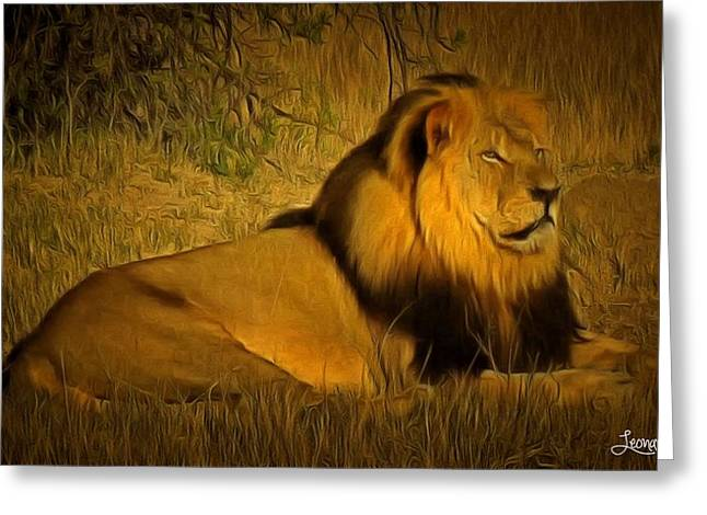 Zimbabwe Paintings Greeting Cards - Cecil The Lion Greeting Card by Leonardo Digenio