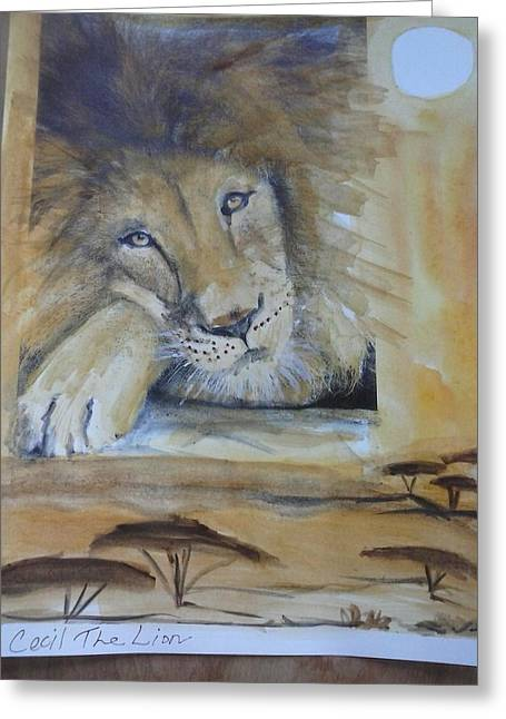 Lions Tapestries - Textiles Greeting Cards - Cecil the Lion Greeting Card by Lisa LaMonica