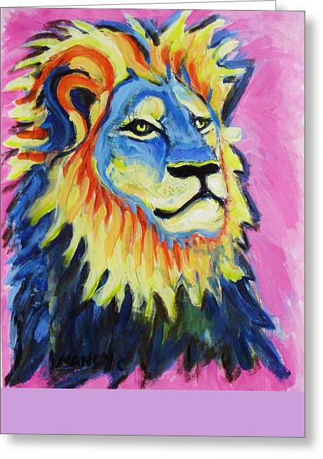 Zimbabwe Drawings Greeting Cards - Cecil the Lion  Greeting Card by Nancy  Connolly
