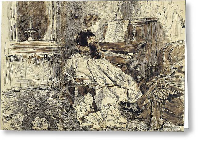 1874 Greeting Cards - Cecilia de Madrazo Playing the Piano Greeting Card by Celestial Images