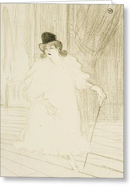 Belles Drawings Greeting Cards - Cecy Loftus Greeting Card by Henri De Toulouse-Lautrec