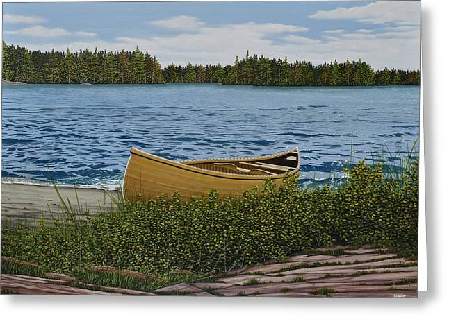 Canoe Paintings Greeting Cards - Cedar Canoe Greeting Card by Kenneth M  Kirsch