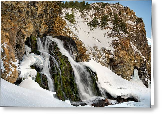 Cedar Creek Greeting Cards - Cedar Creek Falls Winter Greeting Card by Leland D Howard