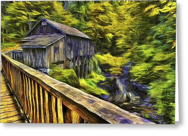 Cedar Creek Greeting Cards - Cedar Creek Grist Mill Van Gogh Greeting Card by Mark Kiver