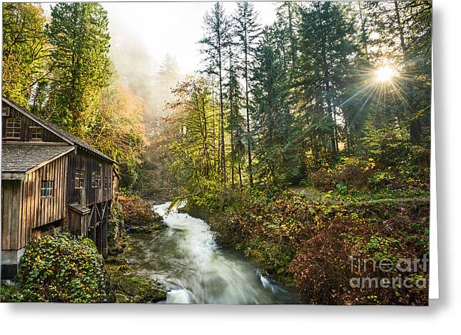 Cedar Creek Mill Light Greeting Card by Jamie Pham