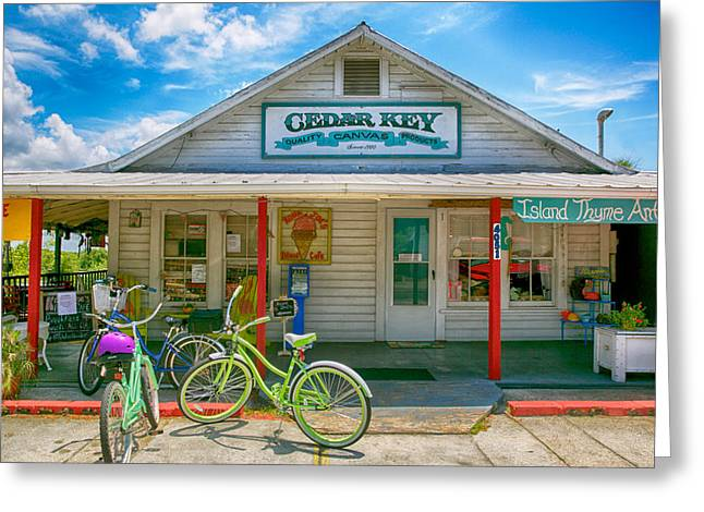 Cedar Key Greeting Cards - Cedar Key Bikes Greeting Card by Julie Abella
