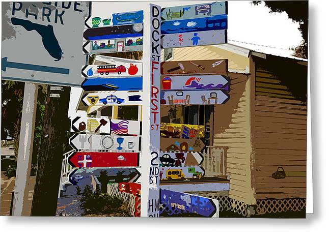Small Fishing Village Greeting Cards - Cedar Key directional Greeting Card by David Lee Thompson