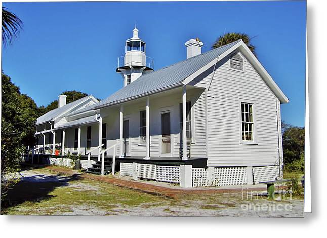 Cedar Key Photographs Greeting Cards - Cedar Key Lighthouse and Keepers Cottage Greeting Card by D Hackett
