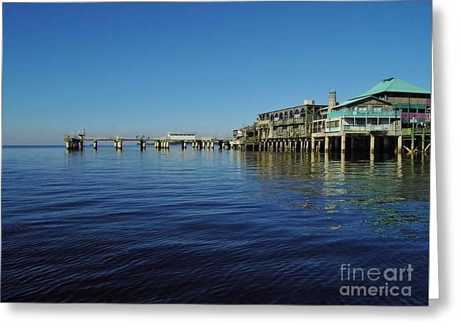 Cedar Key Greeting Cards - Cedar Key Pier Greeting Card by D Hackett