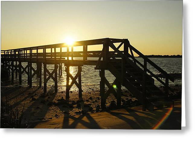 Cedar Key Sunset Greeting Card by Laurie Perry