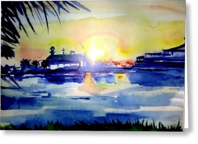 Cedar Key Greeting Cards - Cedar Key Sunset Greeting Card by Patricia Ducher