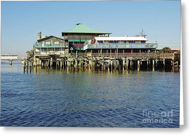 Cedar Key Greeting Cards - Cedar Key Waterfront Greeting Card by D Hackett