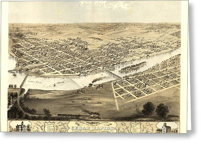 Cedar Rapids Iowa 1868 Greeting Card by Mountain Dreams