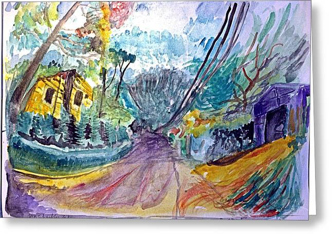 Residential Drawings Greeting Cards - Cedar Valley Lane Huntington NY Greeting Card by Don Schaeffer